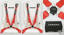 2 TANAKA RED 4 POINT CAMLOCK QUICK RELEASE RACING SEAT BELT HARNESS FIT VW *