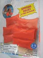 Swim-Aid-Pool-Float-Arm-Bands-Orange-Arm-Bands-2-Pair-Package-For-Ages-3-6-NEW