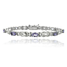 925 Silver 3.5ct Amethyst & Diamond Accent Oval Love Knot Bracelet, 7.25""