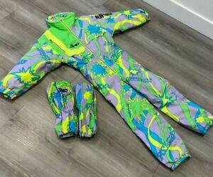 ELHO FREESTYLE Vintage 1980s Age 10 Girls Ski Suit & Gaiters Neon Snowboard Snow