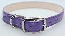 PURPLE GENUINE LEATHER LARGE DOG COLLAR MADE IN THE USA