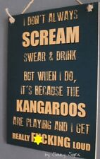 Naughty Scream North Melbourne Sign Aussie Rules Bar Shed Kangaroos Wooden