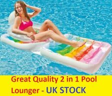 Inflatable Swimming Pool Lounger Folding Lounge Chair Float Beach Fun Summer UK