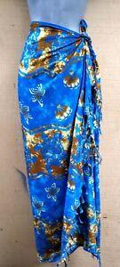 Thai Sarong Batik Fringed Blue & Gold Turtle Pareo Dress Skirt  Beach Cover Wrap