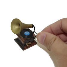 Mini Retro Gramophone Model Toy Dollhouse Miniature Decoration Accessories Wide