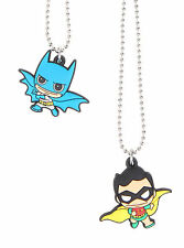 DC Comics Batman and Robin Chibi Kawaii BFF best friends forever 2 Necklace Set