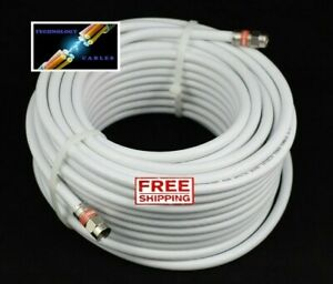 White RG6 Quad Shield Coax Cable - 0.5m to 50m Suits TV Antenna Foxtel NBN Optus