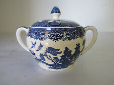 Vintage Willow Pattern Covered Sugar Bowl by Johnson Bros England