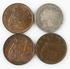 Great Britain Coin Lot 1897 1928 1931 Farthing 1845 6 Pence VF-XF Condition UK