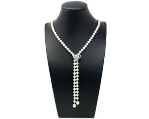 A Stunning Freshwater Pearl Lariat Necklace With Removable Silver Heart Clasp