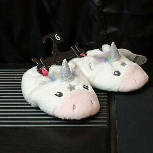 Toddler Girl's Unicorn House Slipper Shoes sz: 6 New NWT