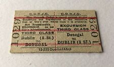 Old Vintage 1960s Irish CDRJC Railway Train Ticket Dublin Donegal Edmondson