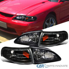 Fit Ford 94-98 Mustang GT SVT Headlights Black+Corner Turn Signal Lamps w/ Amber