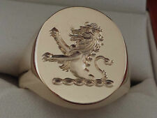 """""""RAMPANT LION"""" Seal Engraved in reverse, for X/L Gents sizes solid head & shank"""
