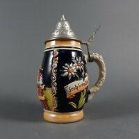 """Vintage 7"""" German Lidded Beer Stein with """" Das Lieben Wir Froh beim Bier"""""""