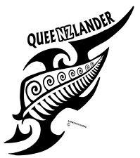 AOTEAROA NEW ZEALAND KIWI FERN QUEENZLANDER WITH TRIBAL QUEENSLAND STICKER WHITE
