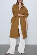 Zara Dark Camel Hooded Trench Coat Size S