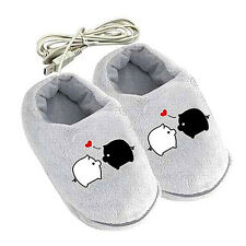 Sweet Cartoon Pig USB Heating Cushion Slippers Heated Shoes for Foot Warmer O8X