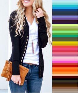 Zenana V Neck Cardigan Snap Front Stretch Long Sleeve Sweater Plus Size 1X ~ 3X