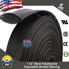"""5 Ft. 1 1/2"""" Black Expandable Wire Cable Sleeving Sheathing Braided Loom Tubing"""