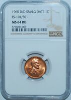 1960 D/D NGC MS64RD Red FS-101 Doubled Die Obverse RPM SM/LG Date Lincoln Cent