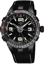Perrelet Men's Turbine Pilot Black Dial Leather Strap Automatic Watch A1086/1A