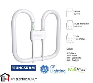 GE Tungsram 16w 21w 28w 38w 55w 2pin 4pin GR10q GR8 Energy Saving Wattmiser 2D