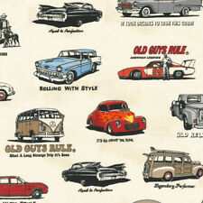 Robert Kaufman OLD GUYS RULE Classic Car Hot Rod VW Camper Fabric - Ivory