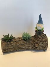 Handcrafted Real Natural Log Gnome Planter With 2 Live Plants