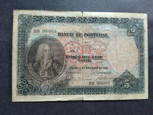 PORTUGAL 5000 REIS 1906 BANKNOTE