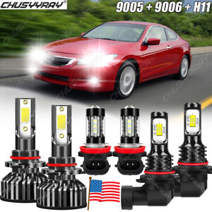 For 2006-2009 2010 2011 2012Honda Accord LED Headlights High Low Fog Light Bulbs