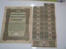 German War Bond 1919 200 Marks Berlin Reparations