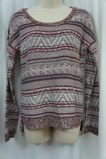 Hippie Rose Sweater M Brandy Wine Combo Fair Isle Striped Scoop Neck Acylic