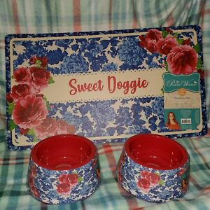 Pioneer Woman Heritage Floral Frontier Rose Set Of 2 Pet Bowls Feeding Mat Dog