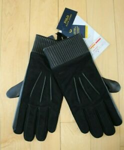 NWT Polo Ralph Lauren Men's Nappa Leather & Suede Gloves Black $135 L