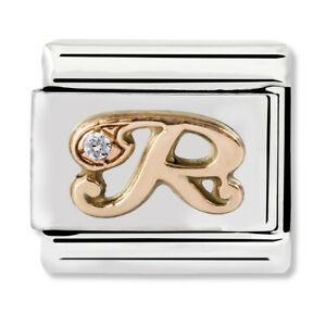 GENUINE Nomination Classic Letter R Rose Gold Steel Charm 430310/18 / £29 RRP