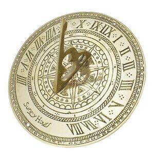 "Solid Brass Sundial – Antique Ornamental Circular Sunny Hours Sun Dial 18cm / 7"""