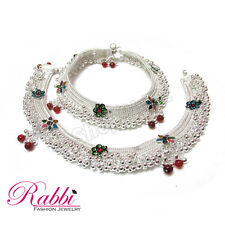 1Rabbi Jodha Style Beautiful design silver plated  Bridal anklet colorball