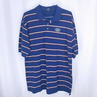 College Classics Mens Striped Golf Polo Short Sleeve Shirt Blue Size XXL