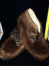 Vintage BEAVER FUR BOOTS w/Shearling Lining~ Mukluks~ Apres Ski ~ Made Canada