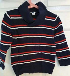 Janie and Jack, USA designer, Navy.and Red Striped Shawl Neck Jumper, 2T