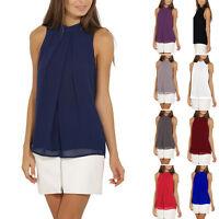 Womens Ladies Casual Sleeveless Chiffon Vest T Shirt Blouse Loose Top New