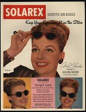 1948 ANN SHERIDAN Wears Retro 1940's SOLAREX Sun Glasses VINTAGE ADVERTISEMENT