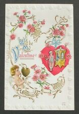 Wilt Be My Valentine Cupid Bow & Arrow Gold Heart / HEART Border Pink Flowers pc