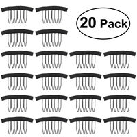 20pcs Wig Caps Lace Cap Wig Combs Steel Tooth Comb for Hairpiece