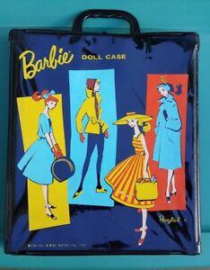 Vintage Old 1961 Ponytail Barbie Carrying Doll Case Wardrobe Trunk Black Mattel