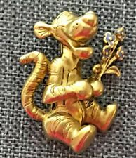 Disney Tigger With Enamel Purple Flower Bouquet Gold Tone Pin Brooch