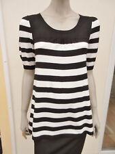 Papaya - Womens Black / White Striped Fine Knit Jumper - size 10