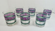 DRINK COCA COLA, 6 Vtg Short Lowball Glasses Tiffany-Style Stained Glass Barware