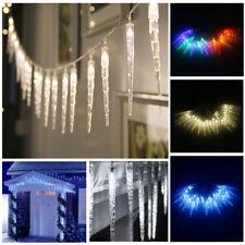 10 Metre LED Frozen Icicle Lights Indoor Outdoor Christmas Garden Fairy Light UK